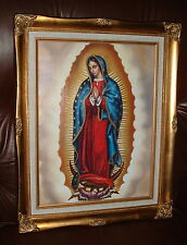 OUR LADY OF GUADALUPE Wood FRAMED Print 17 by 20 inch NEW Mexico Juan Diego Mary