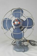 "Silex Handy Breeze vintage blue oscillating 9"" fan with cast iron base"