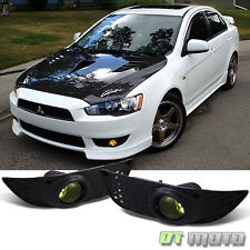 2008-2014 Mitsubishi Lancer Yellow Bumper Fog Lights Lamps w/ Switch Left+Right