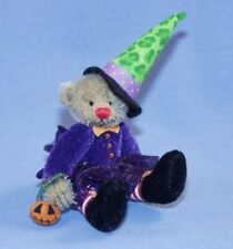 "DEB CANHAM'S ""SABRINA"" BROWN MOHAIR WITCH BEAR-5"" DRESSED IN PURPLE-GREEN HAT"