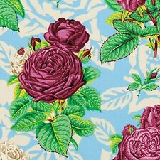 Free Spirit Snow Leopard Botanical Roses Blue Quilting Fabric By The Yard