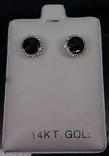 14 k Yellow Gold Black Stone Baby Earring With Protection Ball Screws Backs