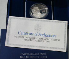 1993 Bill of Rights Silver Dollar Proof Commemorative US Mint Coin Set Box & COA
