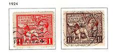 GB - 1924. British Empire Exhibition set of 2. Scott #185-186. USED