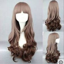 New Long Charm Lolita Curly Wavy Brown Mix Anime Cosplay Wig Free shipping #2342