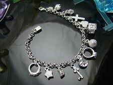 """925Sterling Silver Jewelry Heart Cross Moon 13 Charms Pendant Bracelet 8"""" FH144"""