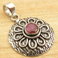 Inexpensive Christmas Gifts !! 925 Silver Plated RED RUBY Pendant 1 3/8 Inches
