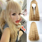 New Womens Sexy Blonde Long Hair Wavy Curly Full Lolita Wigs Cosplay Party Wig