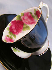ROYAL ALBERT OLD ENGLISH ROSE SHINY BLACK TEA CUP AND SAUCER