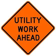 "UTILITY WORK AHEAD (36"") Roll-Up Sign with Ribs..FLUORESCENT VINYL"