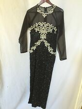 EVENING GOWN Black Nude Full-Length Formal Beaded Sequin Mesh Size 4 Long Sleeve