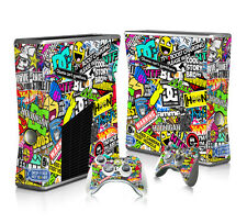 Full Cover Skin Sticker For XBOX 360 Slim Console + Free Controller Decal #2114