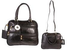 WOMEN'S LADIES SOFT PATCHWORK LEATHER HANDBAG SHOULDER BAG LIGHT WEIGHT BLACK