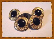6 BOUTONS noir bordure doré * 15 mm  1,5 cm pied queue * button black gilt lot