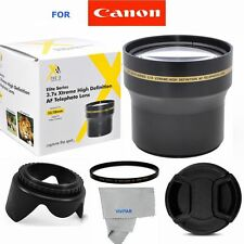 58MM 3.7X TELE CONVERTER +UV FILTER+HOOD + CAP FOR CANON REBEL SL1 T3 T3I T4 T5
