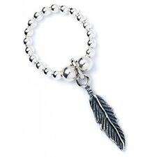 925 Sterling Silver Ball Bead Ring with Feather Charm RR002