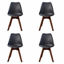 4 X (4X) (X4) BLACK Jamie Dining Chair WALNUT Designer SOFT PAD FAUX LEATHER
