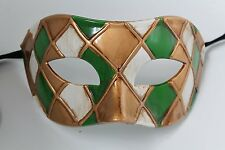QUALITY GREEN GOLD ANTIQUE IVORY HARLEQUIN VENETIAN MASQUERADE PARTY EYE MASK