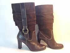 beautiful NINE WEST brown leather western inspired pull on  knee high boots 9.5