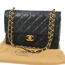 Auth CHANEL Quilted CC Double Flap Chain Shoulder Bag Black Leather VTG AK11688