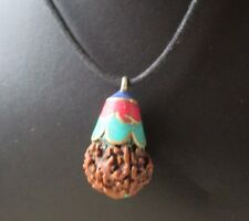 Turquoise Coral stone laid Rudraksha 5 Mukhi Pendants  ! Made in Nepal !!