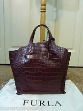 FURLA Burgundy/Vino Croc Embossed Jucca Stitch Leather Tote Bag $328
