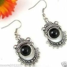 Exquisite Tibetan silver black jade Jewellery earrings
