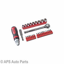 28pc Destornillador Trinquete y conjunto de bits Socket Mini Ranurados POZI Phillips Torx Hexagonal