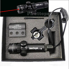 Tactical Red Laser Sight Mil Dot Outside Adjusted Hunting Rifle Scope w/2 Mounts