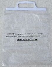 PLASTIC 10 x Clear Resealable Display Bags 28cm x 22cm With White Plastic Handle