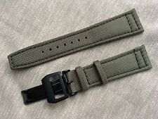 22mm Nylon Leather Watch Band Strap for iwc pilot & 18mm deployment clasp black