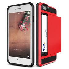 Slide Wallet Case Credit Card Hidden Slot Pocket ID Cash For iPhone 6 / 6s-Red