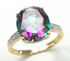 CHARMING 10KT YELLOW GOLD 4CT MYSTIC TOPAZ & DIAMOND RING  SIZE 6.5   R1282