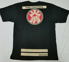 Japan Fire Dept Rescue Hikeshi Japanese Firefighter T-Shirt Mens XL - Black NWOT