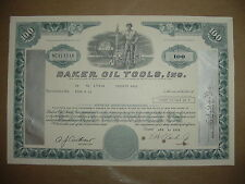 Baker Oil Tools Inc. Stock Certificate Gas California