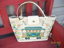 WOMEN'S VINTAGE 1960's ENID COLLINS CABLE CAR WITH JEWELS CANVAS PURSE
