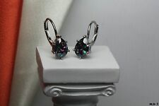 Womens Pear Cut Sterling Silver Mystic Rainbow Fire Topaz Lever Back Earrings