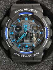 Casio G-Shock GA100-1A2 Ana-Digi Speed Indicator Black Dial Men's Watch bb