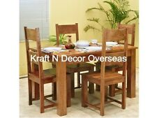 KraftNDecor Wooden Dining Set With 1 Table & 4 Chairs In Brown Colour