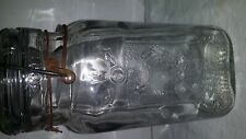 Vintage Queen Wide Mouth Canning Mason Fruit Jar Square Clear Glass Quart Boston
