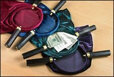 "Set of 4 Purple Velveteen Offering Bags With Wooden Handles 10"" x 11 1/4"""
