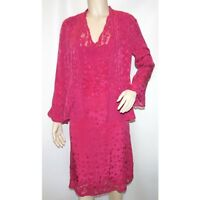 WHISTLES PINK RASPBERRY EMBROIDERED 100% SILK DRESS WITH JACKET SZE UK 8 RRP£270