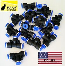 """10X Pneumatic Tee Union Connector Tube OD 1/4"""" 6mm One Touch Push In Air Fitting"""