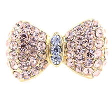 Gold tone pink crystal bow ring, UK Size L