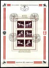 Pferde. 400 Jahre Spanische Reitschule. FDC. Block. Österreich 1972