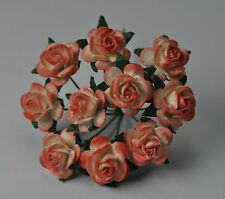 50 APRICOT WHITE ROSE (1.5cm) Mulberry Paper Flowers weddings crafts cards