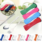 Travel Stainless Steel Fork Spoon Cutlery Portable Camping Bag Picnic Chopstick