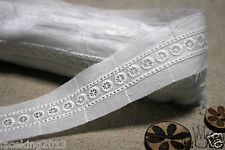 "3Yds Broderie Anglaise Eyelet lace trim 1.3"" white YH1357 laceking2013"