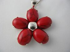 Sterling Silver RED AGATE Flower Necklace