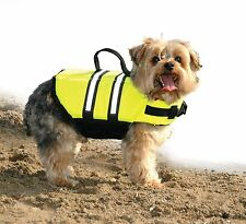 Paws Aboard Dog Life Jacket Safety Preserver Vest Neon Yellow - X-Small Size